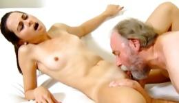 Grey haired naughty man is sucking her perfect vagina hole