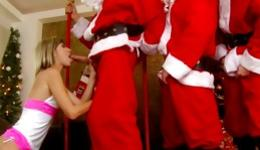 Incredibly rough gangbang with four Santas and one horny girl